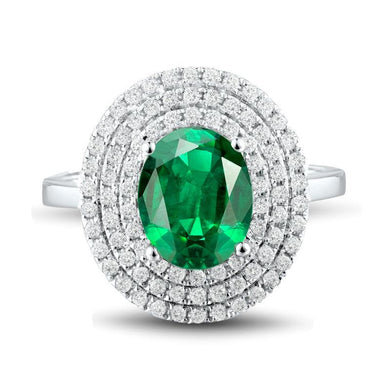 JEWELRY 18K Oval Natural Emerald & Diamond Engagement Ring - EK CHIC