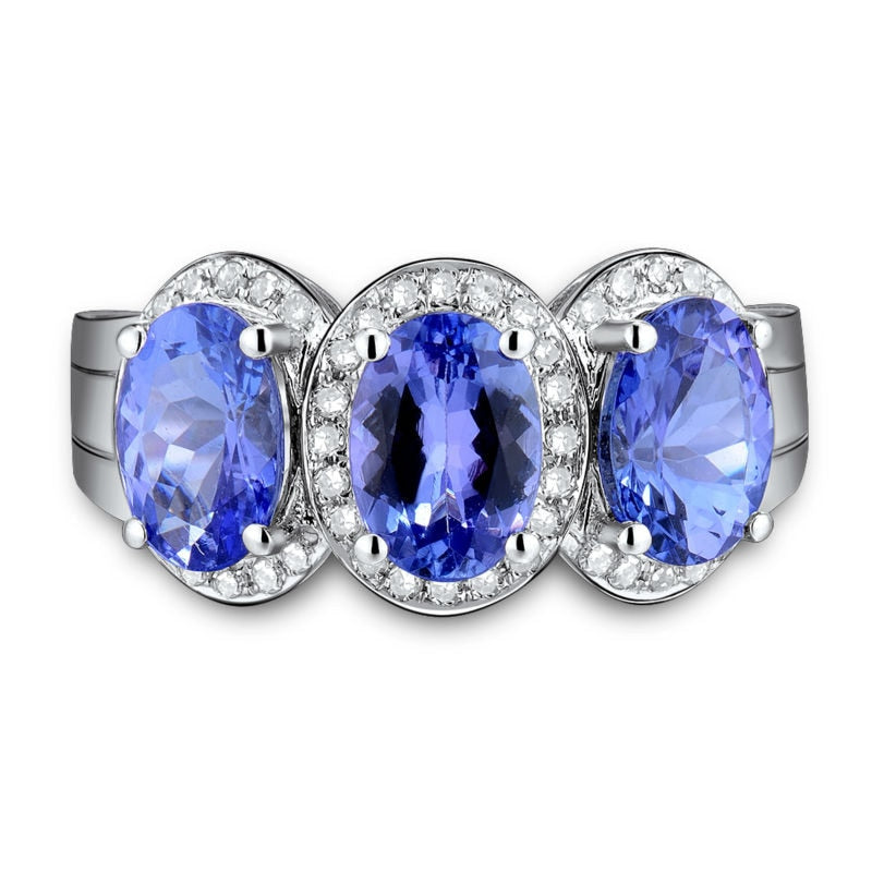 NATURAL TANZANITE THREE STONES IN 14KT SOLID WHITE GOLD  ENGAGEMENT RING - EK CHIC