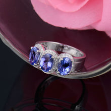 Load image into Gallery viewer, NATURAL TANZANITE THREE STONES IN 14KT SOLID WHITE GOLD  ENGAGEMENT RING - EK CHIC
