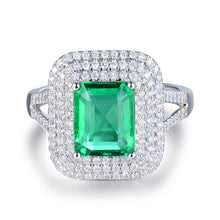 Load image into Gallery viewer, JEWELRY Solid 18Kt White Gold Genuine Emerald Diamond Wedding Ring - EK CHIC