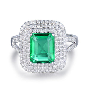 JEWELRY Solid 18Kt White Gold Genuine Emerald Diamond Wedding Ring - EK CHIC