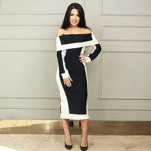 Load image into Gallery viewer, DRESS Celebrity Off The Shoulder Dress - EK CHIC