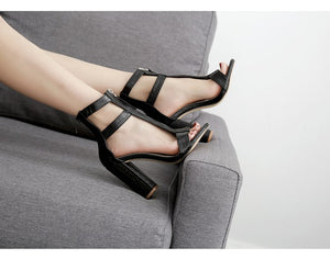 shoes Black Cut-outs Peep Toe Gladiator Sandals - EK CHIC