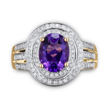 Load image into Gallery viewer, JEWELRY Vintage Oval 7x9mm Solid 14K Yellow Gold Purple Amethyst Engagement Ring - EK CHIC