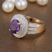 Load image into Gallery viewer, Vintage Oval 7x9mm Solid 14K Yellow Gold Purple Amethyst Engagement Ring - EK CHIC