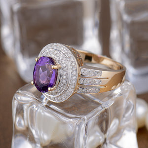 JEWELRY Vintage Oval 7x9mm Solid 14K Yellow Gold Purple Amethyst Engagement Ring - EK CHIC