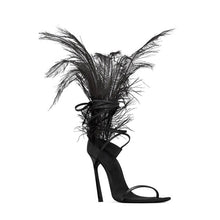 Load image into Gallery viewer, shoes Black Ostrich Feather Sandals - EK CHIC