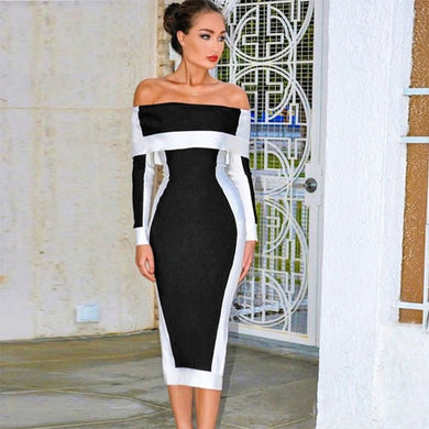 DRESS Celebrity Off The Shoulder Dress - EK CHIC