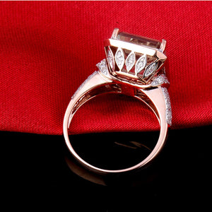 JEWELRY Emerald Cut 100% Natural Amethyst Diamond Engagement Ring Solid 14K Rose Gold - EK CHIC