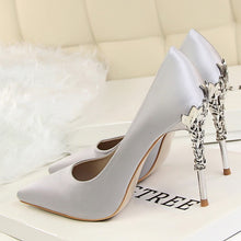 Load image into Gallery viewer, shoes Elegant Metal Carved Heels Silk Shoes - EK CHIC