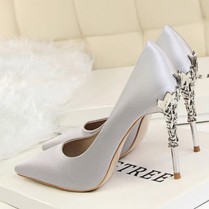shoes Elegant Metal Carved Heels Silk Shoes - EK CHIC