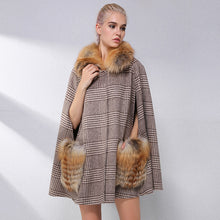 Load image into Gallery viewer, FUR Elegant Cashmere Cloak With Natural Real Fox Fur Collar - EK CHIC