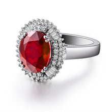 Load image into Gallery viewer, JEWELRY Vintage Oval Solid 14K White Gold Natural Genuine Diamond Ruby Ring - EK CHIC