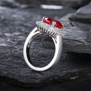 JEWELRY Vintage Oval Solid 14K White Gold Natural Genuine Diamond Ruby Ring - EK CHIC