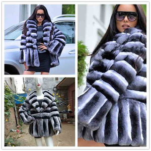 FUR COAT Long Chinchilla Fur Coat - EK CHIC