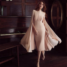 Load image into Gallery viewer, DRESS Pink Mesh Batwing Luxury Dress - EK CHIC