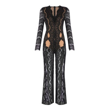 Load image into Gallery viewer, Long Sleeve V-Neck Sexy Lace Split Full Length Jumpsuit - EK CHIC