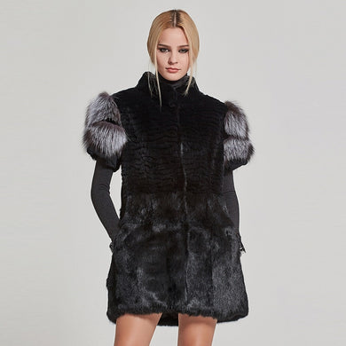 Natural Fur Vest Real Rabbit With Real Sliver Fox  Sleeve - EK CHIC