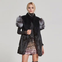 Load image into Gallery viewer, Natural Fur Vest Real Rabbit With Real Sliver Fox  Sleeve - EK CHIC