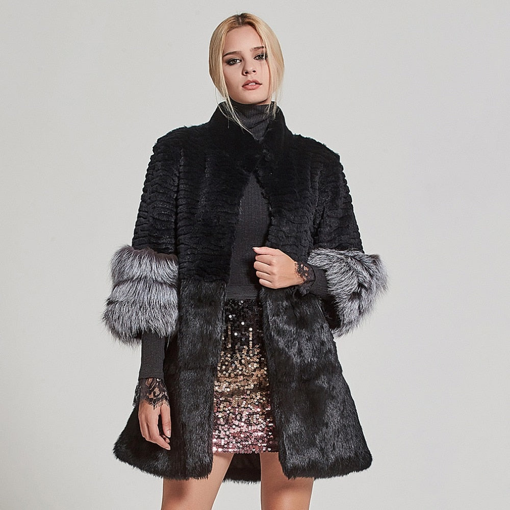 FUR Luxury Natural Rabbit & Fox Coat - EK CHIC