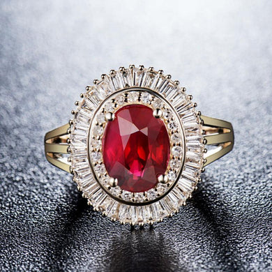 JEWELRY 14K Solid Yellow Gold Ruby Ring - EK CHIC