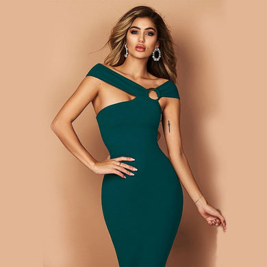 Green Sleeveless One-Shoulder Dress - EK CHIC