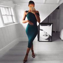 Load image into Gallery viewer, DRESS Green Sleeveless One-Shoulder Dress - EK CHIC