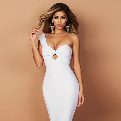 DRESS White Sleeveless One-Shoulder Hollow Out Dress - EK CHIC
