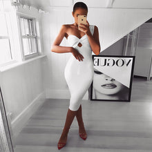 Load image into Gallery viewer, White Sleeveless One-Shoulder Hollow Out  Dress - EK CHIC