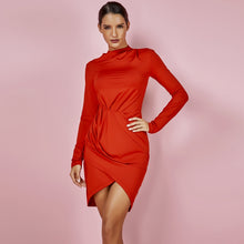 Load image into Gallery viewer, DRESS Hot Selling Turtleneck Jennifer Lopez Red Bodycon Dress - EK CHIC