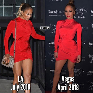 DRESS Hot Selling Turtleneck Jennifer Lopez Red Bodycon Dress - EK CHIC