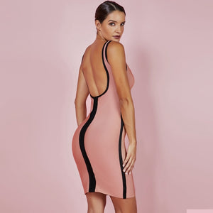 DRESS Fashion Coffee Sexy Backless Bandage Dress - EK CHIC