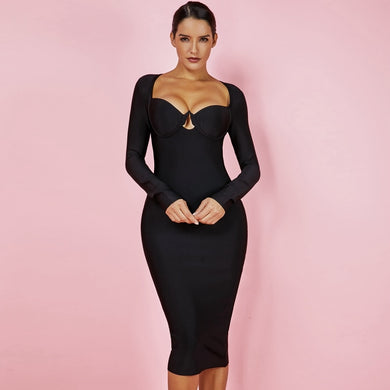 Long Sleeve Fashion Black Bandage Dress - EK CHIC