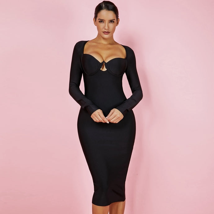 DRESS Long Sleeve Fashion Black Bandage Dress - EK CHIC