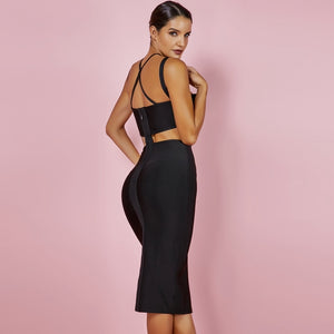Hollow Out Bandage  Cross Front  Dress - EK CHIC