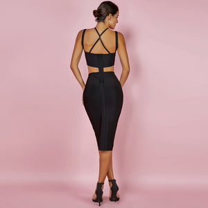 DRESS Hollow Out Bandage Cross Front Dress - EK CHIC