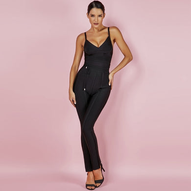 JUMPSUIT Sexy Waist Cinching Sleeveless Black Bandage Jumpsuit - EK CHIC