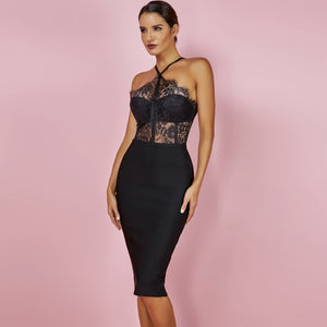 Party Black Sexy Lace Bodycon Bandage Dress - EK CHIC