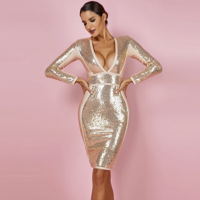 Gold Bandage Long Sleeve Sequin Deep v Neck Dress - EK CHIC
