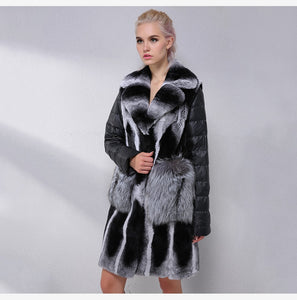 Chinchilla Fur Coat With Detachable Down Sleeves - EK CHIC