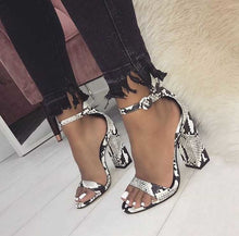 Load image into Gallery viewer, shoes Snake Print Square Heel Sandals - EK CHIC