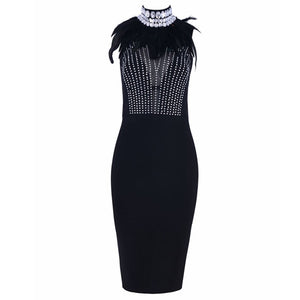Fashion Celebrity Bandage Black Dress - EK CHIC
