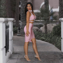 Load image into Gallery viewer, DRESS Pink Spaghetti Strap Beading Dress - EK CHIC
