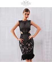 Load image into Gallery viewer, DRESS Elegant Black Lace Feather Bodycon Club Dress - EK CHIC
