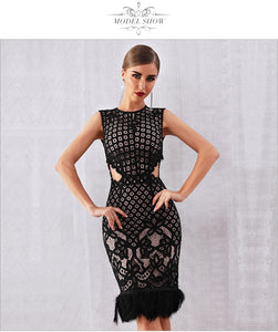 Elegant Black Lace  Feather Bodycon Club Dress - EK CHIC