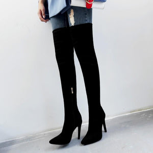 Over The Knee Pointed Toe  Boots - EK CHIC