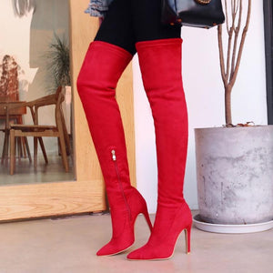 shoes Over The Knee Pointed Toe Boots - EK CHIC