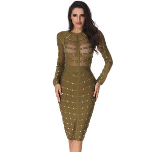 Sexy Mesh Long Sleeve Beaded Bandage Dress - EK CHIC