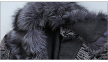 Load image into Gallery viewer, FUR COAT Fox Fur Collar Wool Blends & Rex Rabbit Fur Coat - EK CHIC