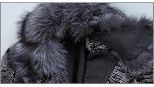 FUR COAT Fox Fur Collar Wool Blends & Rex Rabbit Fur Coat - EK CHIC